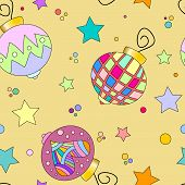 colorful bauble and star texture