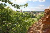 stock photo of carmelite  - Ruins of old brick wall in Monastery  - JPG