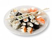 Rolls and sushi in a plate
