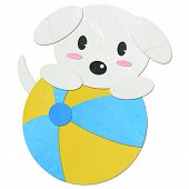 Rice Paper Cut Cute Dog With A Ball