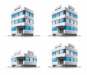 Four cartoon office vector buildings