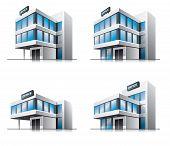 Four cartoon office vector buildings