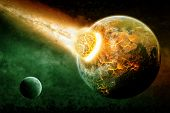 stock photo of meteorite  - Planet Earth Armageddon - JPG