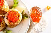Snack With Salmon Caviar And Pancakes