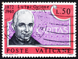 foto of luigi  - a stamp printed in the Vatican shows Luigi Orione - JPG