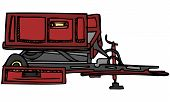 Vector Illustration Sketch of Red Farm Tractor Wagon