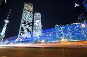 Shanghai Landmark Buildings Background Car Night Rainbow Ray Light Trails poster
