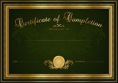 Dark Green Certificate / Diploma template. Background design with pattern, border