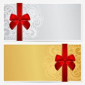Voucher/ Gift certificate / Coupon template with border, frame, bow (ribbons). Cold, silver colors
