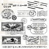 Vektor Retro Air Mail Briefmarken. Ideal für Vintage-Designs.