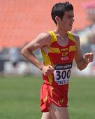 DONETSK, UKRAINE - JULY 13: Diego Garcia, Spain, go to his bronze medal in the final of 10,000 meter