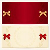 Gift Voucher (coupon, invitation or card) template with floral pattern, border and red and gold bow