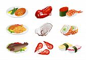 Vector set: Isolated Fish dishes Seafood. Illustration on white background