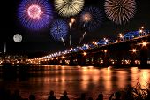 Spectacular Fireworks At Han River In Full Moon