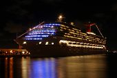 Cruise Ship At Night In San Joan