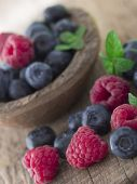 raspberries and blueberries