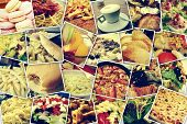mosaic with pictures of different meals and dishes, shooted by myself, simulating a wall of snapshots uploaded to social networking services