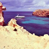 picture of Mediterranean Sea in Punta de Sa Pedrera in Formentera, Balearic Islands, Spain, with a r