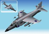 Detailed Isometric Vector Illustration of Royal Navy Sea Harrier