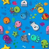 Sea creatrues colorfull seamless pattern