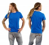 Male With Blank Blue Shirt And Dreadlocks