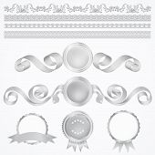 Vector set: Silver Awards with ribbons and borders (icons)