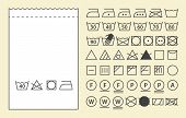Textile Label Template And Washing Symbols (laundry Icons)