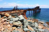 Iron ore on Island of Elba coast. Old abandoned mine nearby Rio Marina City. Toscana, Italy.