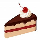 Piece of chocolate cake with cream and cherry. Vector illustration.