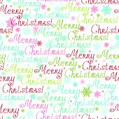 picture of merry chrismas  - Vector Merry Christmas Text Seamless Pattern Background with hand made Merry Chrismas words with drawn snowflakes - JPG