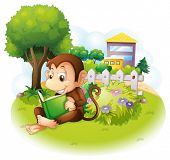 Illustration of a monkey reading a book near the plants with flowers on a white background