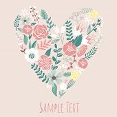 Floral Heart Card. Cute retro flowers arranged un a shape of the heart, perfect for wedding invitati