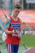 DONETSK, UKRAINE - JULY 11: Karsten Warholm of Norway in the semi-final of javelin throw competition in Octathlon during 8th IAAF World Youth Championships in Donetsk, Ukraine on July 11, 2013