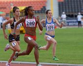 DONETSK, UKRAINE - JULY 11: Tenorio, Ecuador (center), Hobbs, New Zealand (left), and da Silva, Brazil compete in 100 m during 8th IAAF World Youth Championships in Donetsk, Ukraine on July 11, 2013