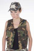 Model Dressed As A Military Mercenary