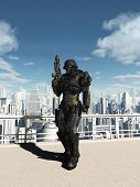 stock photo of armor suit  - Science fiction space marine commando patrolling the streets of a futuristic city - JPG
