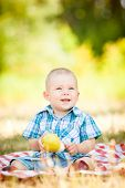 cute little baby have a picnic