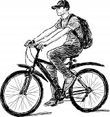 Teen Riding A Bicycle.eps