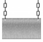Silver metal signboard hanging on chains