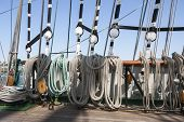 foto of shekel  - Closeup of many tightropes and shekels of a sailing ship or yacht - JPG