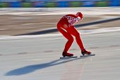 INNSBRUCK, AUSTRIA - JANUARY 16 Vasiliy Pudushkin (Russia) places 8th in the men's 1500 speed skatin