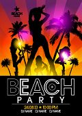 Beach Party design template with fashion girls in ray of lights. Eps10