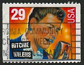 USA - CIRCA 1993: A stamp printed in USA shows image of the Ritchie Valens (born Richard Steven Valenzuela) was an American singer, songwriter and guitarist, circa 1993.