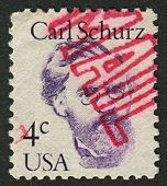 USA - CIRCA 1986: A stamp printed in USA shows image of the Carl Christian Schurz  was a German revo