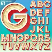 stock photo of nostalgic  - Vector retro alphabet for Summer typography design - JPG