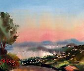 Watercolor Painting Landscape Of Sunset In The Cote D'azur, France.