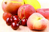 Cherries, Platt Peach, Strawberries, Lemon And Mango, Close Up