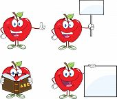 Red Apples Cartoon Mascot Characters 4.Collection
