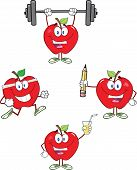 Red Apples Cartoon Mascot Characters 3. Collection