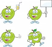 Green Apples Cartoon Characters. Collection